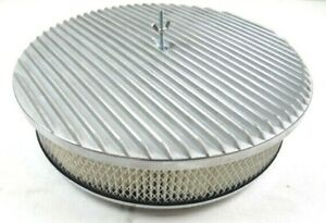 14 Round Aluminum Flat Top Finned Air Cleaner Kit 3 Filter Satin Bpe 1122 1