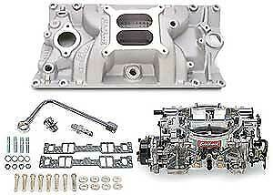 Edelbrock 2028 Single quad Manifold And Carb Kit Small Block Chevy With Vortec e