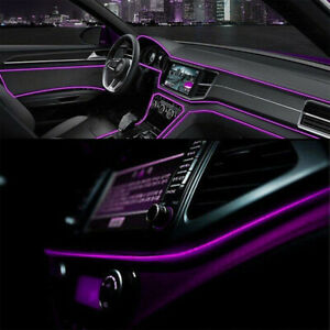 Purple Led Auto Car Interior Decor Atmosphere Wire Strip Light Lamp Accessories