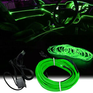 Green Led Auto Car Interior Decor Atmosphere Wire Strip Light Lamp Accessories