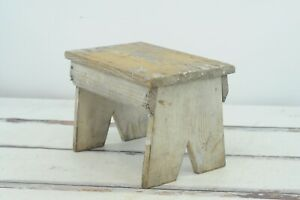 Antique Vintage Chippy Wood Foot Stool Childs Stool Kitchen Stool Step Stool Aaf