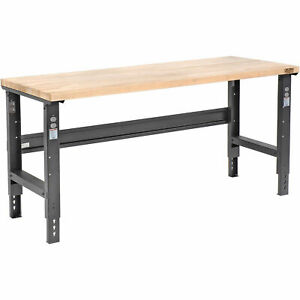 Adjustable Height Workbench C channel Leg 72 w X 36 d 1 3 4 Maple Top Square