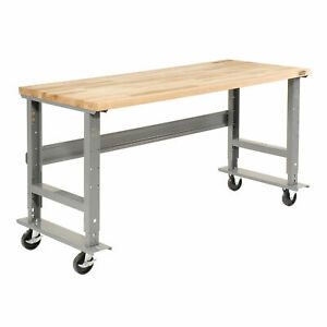 Mobile Adjustable Height C channel Leg Workbench Maple Butcher Block Square