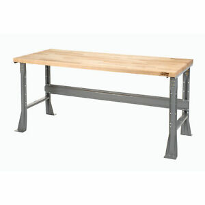 Fixed Height Workbench C channel Flared Leg Maple Block Square Edge 48 w X