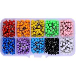 600 Pcs Multi color Push Pins Map Tacks 1 8 Inch Round Head With Stainless