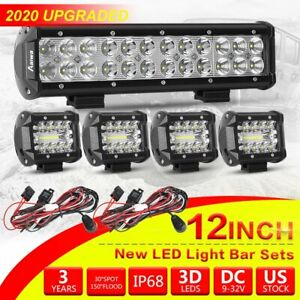 Cree Led Light Bar 4 12 Inch Spot Flood Combo Kit With Off Road Wiring Harness