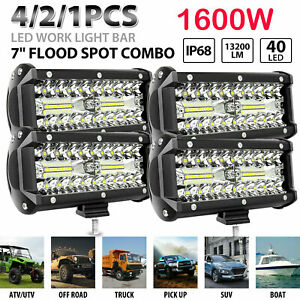 4 2x 7 800w Led Work Light Bar Flood Spot Combo Fog Lamp Offroad Driving Truck