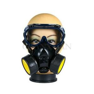 Protection Emergency Gas Mask Respirator Filter Chemical Safety Goggles New
