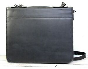 10 5 x13 Buxton Black Real Leather Planner Paper Holder Binder 3 Rings X body
