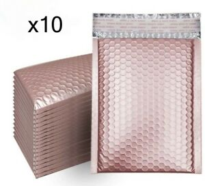 10 Bubble Mailers Rose Gold Metallic 6x10 Packaging Shipping Supplies 0