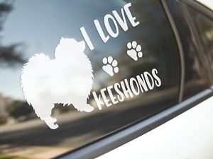 Keeshond Sticker Dog Car Decal I Love Keeshonds Dogs Cute Silhouette Made Aus