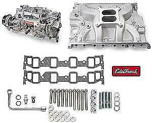 Edelbrock 2037 Single quad Manifold And Carb Kit Ford Fe 390 428ci Performer Rpm