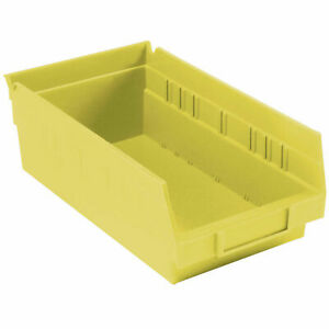 Nestable Shelf Bin Plastic 6 5 8 w X 11 5 8 D X 4 h Yellow Lot Of 12