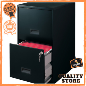 Storage Cabinet Metal File Black Built in Lock Box Outdoor Garage 2 Drawer 18