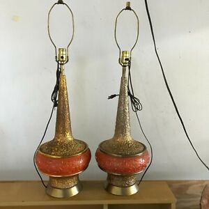 Mid Century Modern Table Lamps Pair Gold And Burnt Orange No Shades