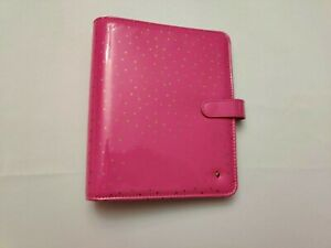 Franklin Covey Planner Love Sim Leather Fuchsia Pink Gold Dots used Classic