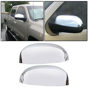For 2007 2013 Chevy Silverado Gmc Sierra Chrome Top Mirror Covers Replacement