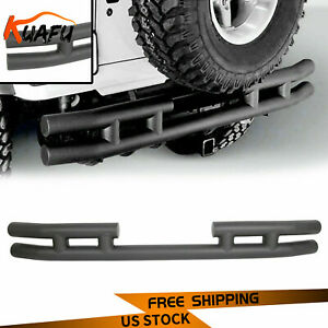 Textured Black Rear Double Tube Bumper For 97 06 Tj 86 96 Yj Jeep Wrangler New