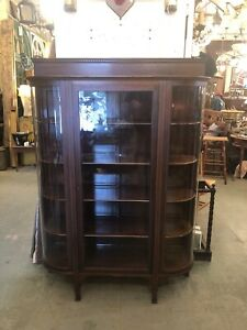 Turn Of The Century Five Shelf Curved Glass China Display Cabinet Sheridan Style