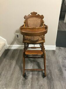 Antique Victorian Wooden High Chair Rocker Converts To 4 Positions Circa 1870