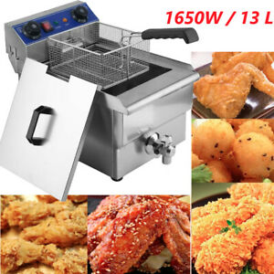 13l 1 65kw Electric Deep Fryer Portable Dual Tank Basket Commercial Restaurant