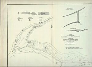 1827 Map Junction Of Wabash Eel Rivers National Armory Site Logansport In