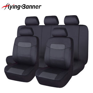 Universal Pu Leather Car Seat Covers Full Set Front Rear Seat Airbag Compatible