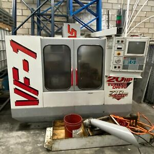 Haas Vf1 Cnc 20hp 4th Axis Wired Chip Auger