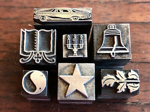 Antique All Metal Printers Block Decorative Dingbat 7 Pieces