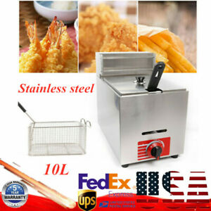 10l Commercial Deep Fryer Propane Heating 1 basket French Fries Frying Machine
