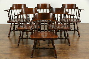 Set Of 6 Traditional Vintage Birch Dining Chairs W Arms Nichols Stone 35197