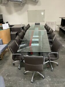 Unique One Of A Kind 18 Foot Glass Top Custom Conference Table