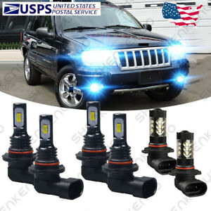 For Jeep Grand Cherokee 1999 2004 Led Headlight Bulbs Hi low Beam Fog Lights Hkl