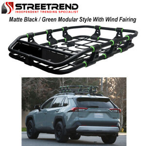 Modular Sport Steel Roof Rack Basket Carrier wind Fairing Matte Black green S1
