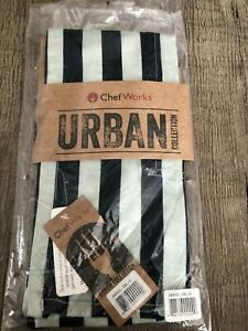 New Chef Works Urban Collection Bistro Apron With Pockets Brand New Blue Stripe