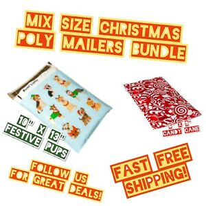 35 Poly Mailers Two Mix Size Christmas Variety Pack Shipping Envelopes