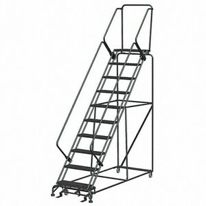 New Steel Industrial 10 step Rolling Ladder gray brand New Heavy Duty