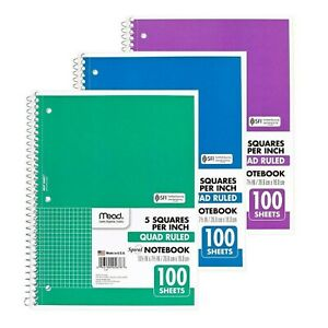 Mead Spiral Quad Ruled Notebook 1 Subject 5 Squares Per Inch 100 Sheets col