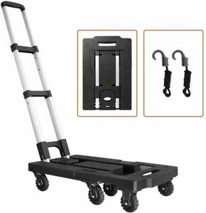 Portable Folding Luggage Cart 330lb Capacity Aluminum Hand Truck Dolly 7 Wheels