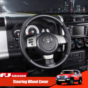 Carbon Fiber leather Steering Wheel Stitch On Wrap Cover For Toyota Fj Cruiser