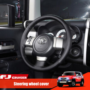 Black hole Leather Steering Wheel Stitch On Wrap Cover For Toyota Fj Cruiser