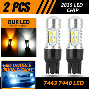 2x Dual Color White Amber 7443 Led Drl Switchback Turn Signal Parking Light Bulb