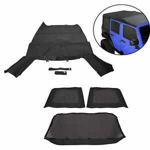 For 2007 2009 Jeep Wrangler Jk 4 Door Replacement Black Soft Top Tinted Windows