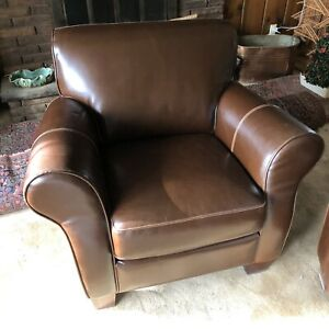 Divani Chateau D Ax Brown Italian Leather Club Chair Circa 2005