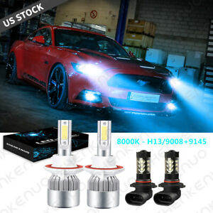 For Ford Mustang 2007 2012 8000k Combo Led Headlight Hi lo Fog Light Bulbs Kit