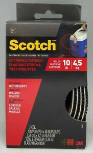 Scotch 7100085651 Extreme Black Fasteners Rf6741 2 Rolls Of 1 In X 4 Ft