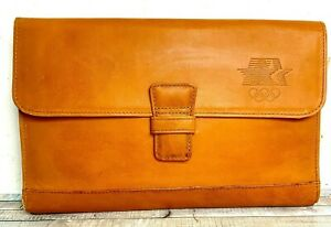 1980 L a Olympic Committee Tan Brown Leather Lrg Planner Paper Holder Portfolio