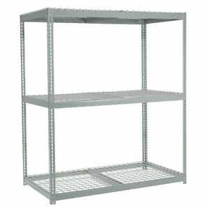 Wide Span Rack With 3 Shelves Wire Deck 1200 Lb Capacity Per Level 48 w X 24 d