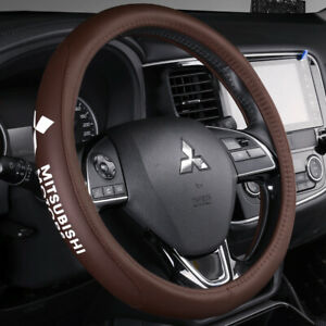 15 Car Steering Wheel Cover Genuine Leather For Mitsubishi Brown
