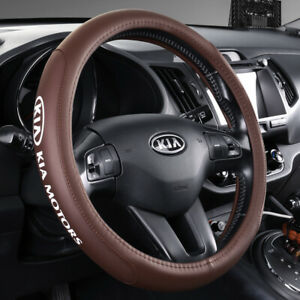 15 Car Steering Wheel Cover Genuine Leather For Kia Brown